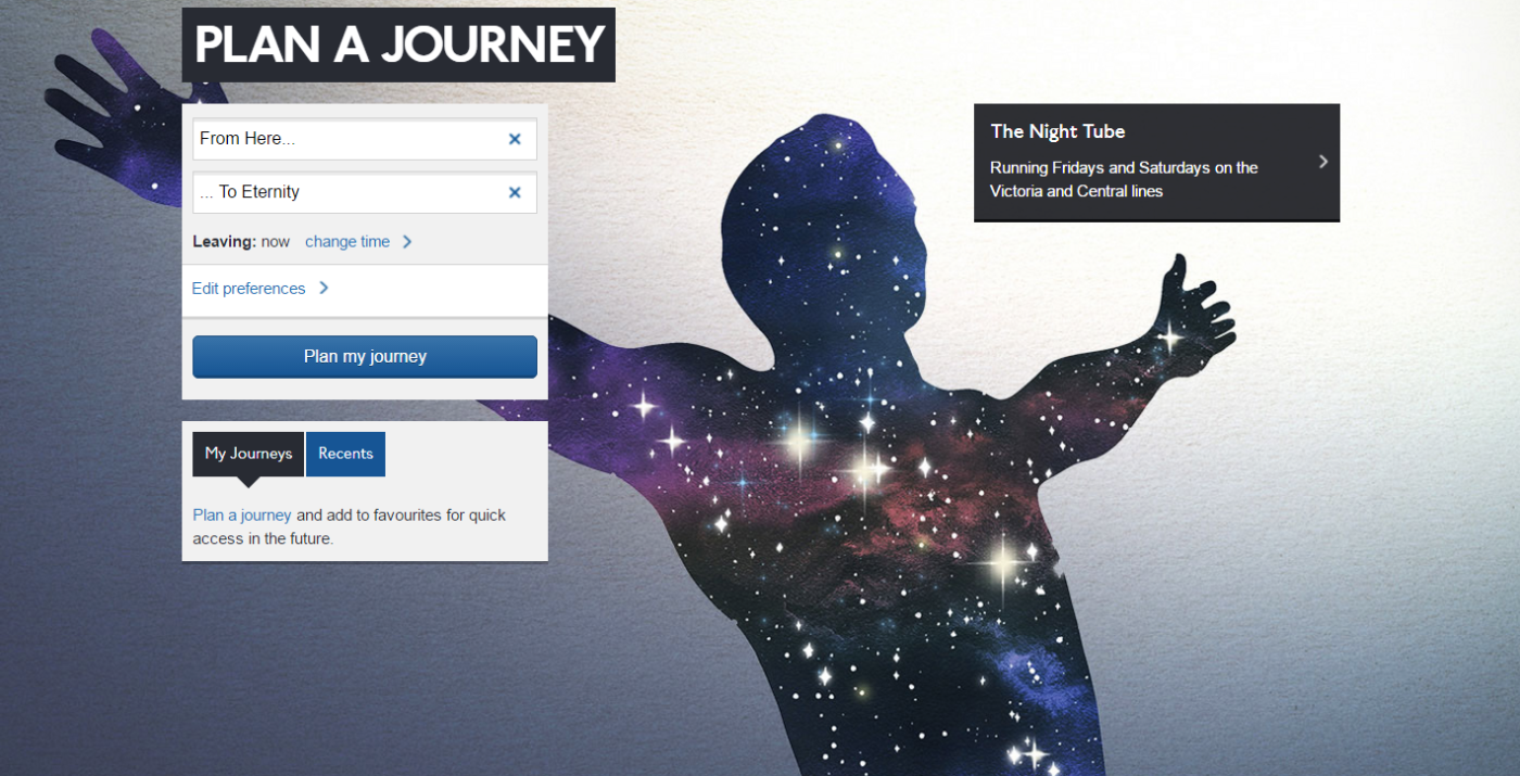 From Here to Eternity - Plan your journey, free the night